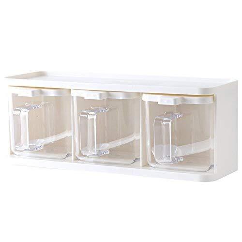 Coolshopy Verticalmente giratoria de almacenamiento condimento cajas de especias Botella tarro con asa y Herramientas cuchara de la cocina contenedor de almacenamiento de la hierba de la especia Casto
