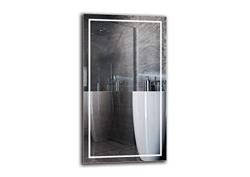 Espejo LED Premium - Dimensiones del Espejo 50x90 cm - Espejo de baño con iluminación LED - Espejo de Pared - Espejo de luz - Espejo con iluminación - ARTTOR M1CP-48-50x90 - Blanco cálido 3000K