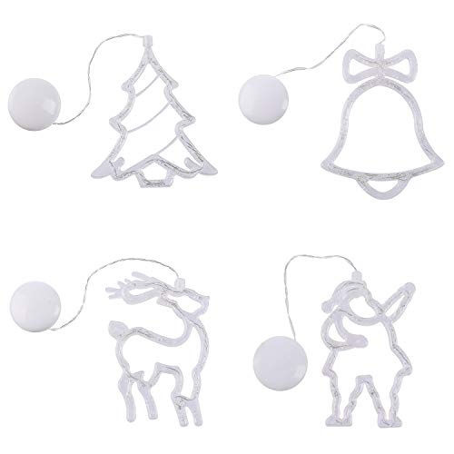 Christmas Curtain Lights, Star Bells Elk Xmas Tree Style Light with Power Suction Cup, Fairy Light Decorations for Indoor Outdoor Wedding Party Home Bathroom Vanity Mirror, Warm White