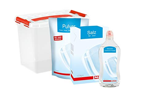 Miele Spülmittel / Starter-Paket bestehend aus 1,5 kg Regeneriersalz / 500 ml Klarspüler / 1 kg Geschirrreiniger (Pulver) / Inklusive praktischer Aufbewahrungsbox