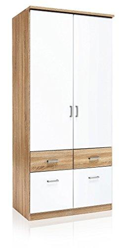 AVANTI TRENDSTORE - Royan - Armadio con 2 ante a battente e con 4 cassetti in laminato di quercia Sonoma e bianco, dimensioni: LAP 91x199x56 cm