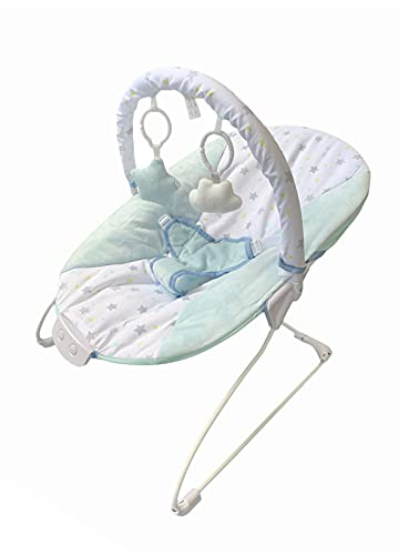 LADIDA Baby Bouncer, Cradling Design, Vibration and Musical Option, Removable Bar with 2 Toys, 0+Months (Blue), 055