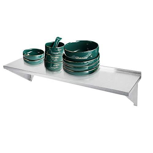 Estante de almacenamiento de pared de acero inoxidable de ybaymy organizador de cocina comercial estante de almacenamiento de catering estantes resistentes a la corrosión 120 x 30 cm