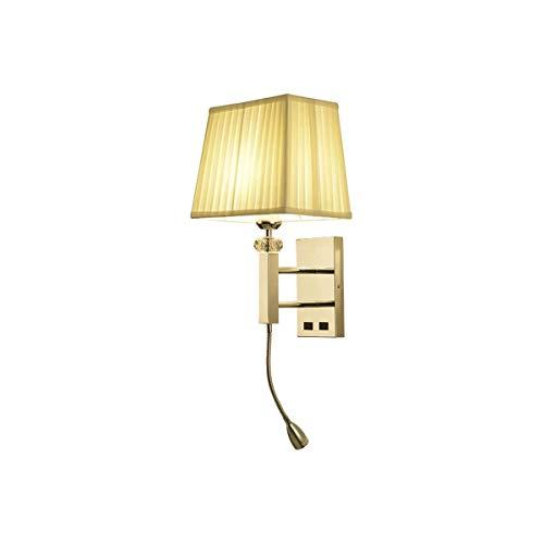ZZYJYALG Tela de acero inoxidable E27 Luz de pared con foco en la parte inferior, lámparas de lectura para dormitorio de estudio interior, decoración para oficina de sala de estar