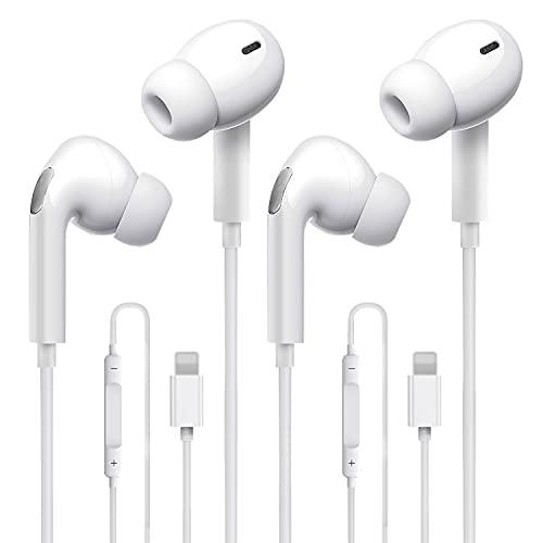 [2 confezioni]Cuffie, Auricolari Stereo In-Ear per con microfono e controllo del volume, Compatibili con iPhone 12 Pro/12 Mini/SE/11 PRO Max/XS Max/X/XR/8/7 - Bianco