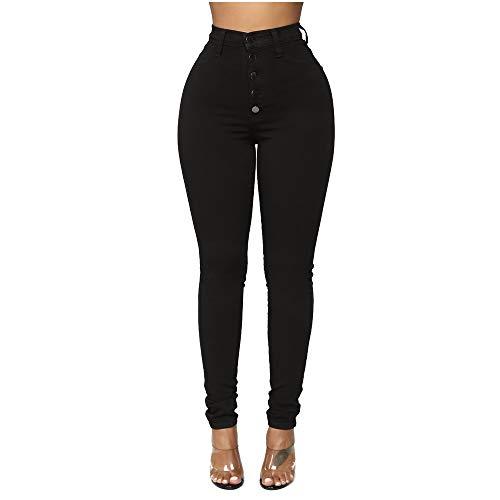 Mibuy Mujer Pantalones con Cordones Vintage Vaqueros Cintura Alta Jeans A Ajuste Regular Denim Pantalón Deportivos Casual Straight Skinny Leggings Lápiz 2020 Jeans Push Up Negro,XL