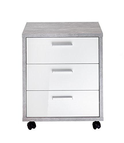 FMD 3002-002 Möbel Brick 2 Rollcontainer, Holz, beton/hochglanz-weiß, 49.5 x 42 x 59.5 cm