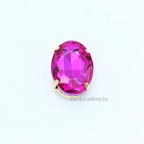 Ovale maat 24 kleuren kristallen steen flatback-naaien van glas met strasssteentjes voor sieraden met 4 gaten parels, goudkleurige klauwgesp voor bruidsjurk, roze, 20 stuks, 8 x 10 mm