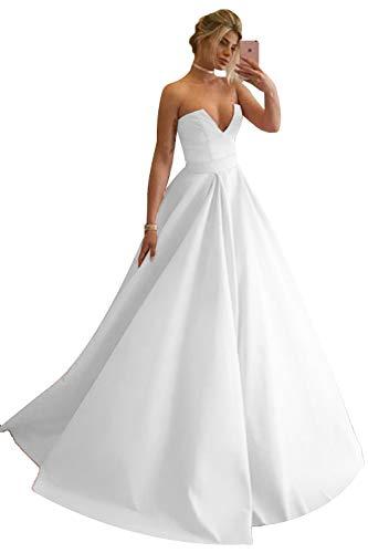 Promworld - Vestido de noche para mujer, sin tirantes, con cuello en V, línea A, vestido largo