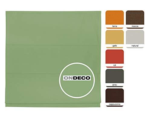 ondeco Estor para ventanas y puertas, estor plegable interior, opaco, para montaje en pared y techo, 140 x 175 cm, color verde