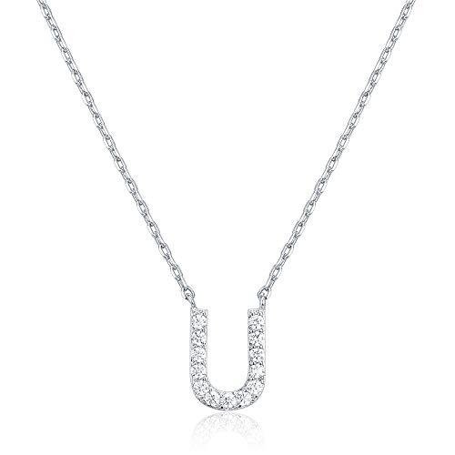 PAVOI Oro blanco 14K plateó el collar Cubic Zirconia inicial   Collares de letras para las mujeres   T inicial