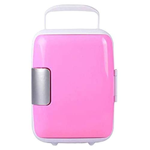 LIXUDECO Mini nevera portátil congelador de coche 4L mini refrigerador refrigerador refrigerador refrigerador refrigerador calentador universal piezas del vehículo (nombre del color: rosa)