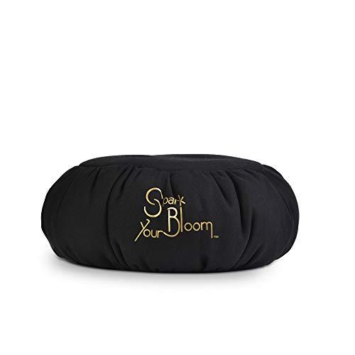 SparkYourBloom Coussin de méditation Yoga Zafu - Coussin de Pleine Conscience - Garnissage 100% Perles de polystyrène - Aide à la Posture - Lavable en Machine - Noir