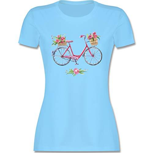 Vintage - Vintage Fahrrad Wasserfarbe Blumen - S - Hellblau - Shirt mit Druck Damen - L191 - Tailliertes Tshirt für Damen und Frauen T-Shirt