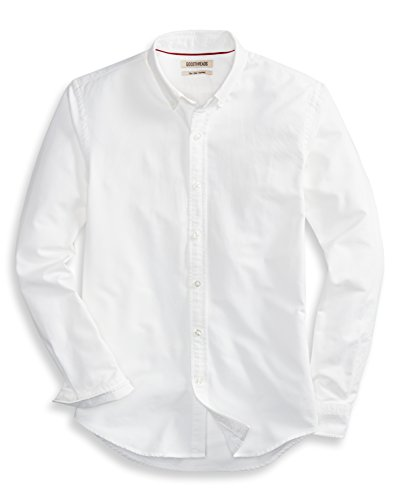 Goodthreads Men's Slim-Fit Long-Sleeve Solid Oxford Shirt, White, Medium