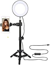 ZoMei 6'' Selfie Ring Light with Tripod Stand & Cell Phone Holder for Live Stream Makeup YouTube Video Portrait Photography,Mini LED Camera Ringlight with Ball Head for iPhone 11 Xs Max XR