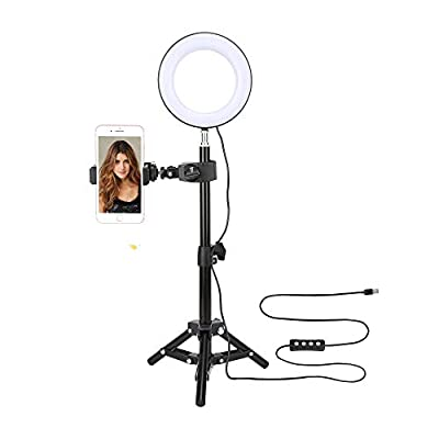 """Amazon - 50% Off on 6"""" Selfie Ring Light with Tripod Stand & Cell Phone Holder for Live Stream"""