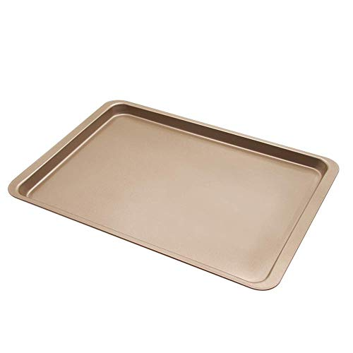 DRGY vwlvrsco 14.5inch Non-Stick Baking Tray Carbon Steel Bread Cake Cookies Pan Bakeware Rimmed Borders for Professional Quality Kitchen Golden