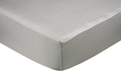 Amazon Basics Fitted Sheet, Baumwolle, Grau, 135 x 190 x 30 cm