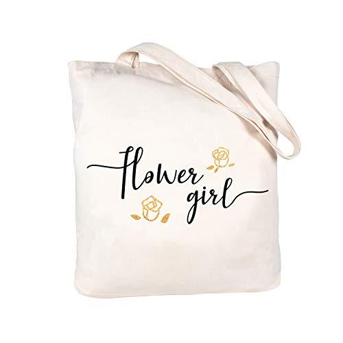 Caraknots Women Flower Girl Tote Bag Wedding Bridal Shower Gifts Canvas Shoulder Bag with Interior Pocket 100% Cotton