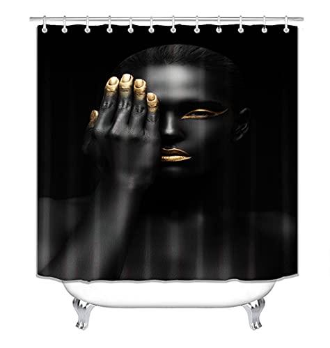 profession Cortina de la Ducha Cortinas de Ducha Afro, Cortinas africanas Negras para Mujer con Labios Dorados, para baño, decoración Impermeable para el hogar