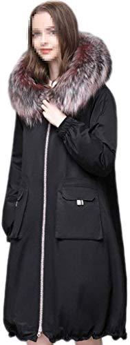 LVWSW Donne Giacca Piumino, Grande Collo di Pelliccia Liner Invernali Giacca con Cappuccio Leggero Isolato Piumino Parka Lungo Cappotti,Black_L