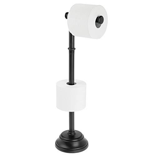mDesign Portarrollos de pie con capacidad para 3 rollos de papel higiénico – Soporte para papel higiénico de diseño atemporal – Portarrollos de baño para rollos grandes – negro