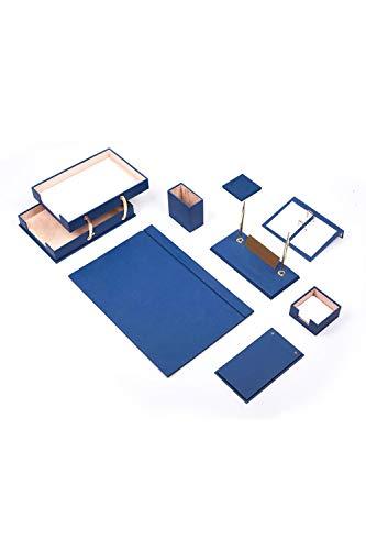 Calme-D Lux - Juego de escritorio (10 piezas, con doble bandeja para documentos, 49 cm x 34 cm, piel sintética, con placa para nombre personalizado, en 10 colores a elegir), color azul