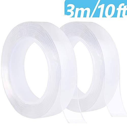 GOLDGE Nano Nastro Biadesivo Trasparente 3 m, 2 Pcs 10 ft Multifunzione Nano Tape Adesivo Bifacciale Traceless Trasparente collosità Gel Tape Removibile e Lavabile Riutilizzabile