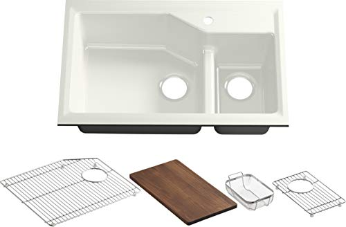Great Price! Kohler K-6411-1-NY Indio Undercounter Double Offset Basin Kitchen Sink with Single-Hole...