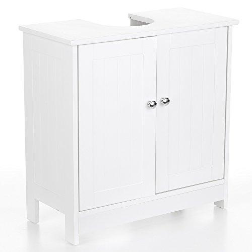 IKAYAA Armadietto Sotto Lavabo In Legno, Bianco Per Sotto Il Lavello Mobiletto Da Bagno 60 X 29 X 60Cm
