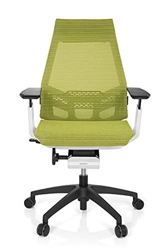 hjh OFFICE 652888 Profi Bürostuhl Drehstuhl GENIDIA SMART White, Netz-Stoff, Grün/Weiss, ergonomischer Schreibtisch-Stuhl mit verstellbaren Armlehnen für das Büro, Synchron-Mechanik, Home-Office