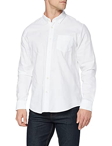 Marca Amazon - find. Regular Oxford - Camisa Hombre, Blanco (White), 3XL, Label: 3XL
