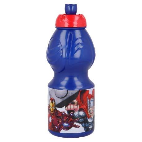 Borraccia Sport in plastica Bottiglia per Bambini 400ML con beccuccio retraibile (Avengers Supereroi)