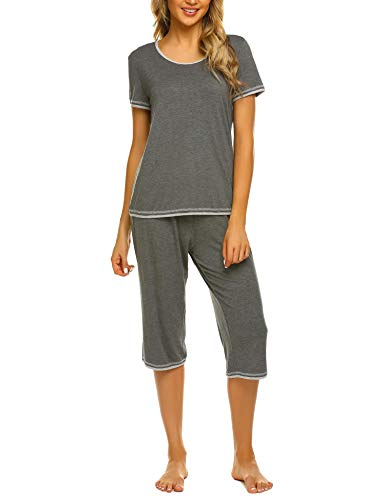 UNibelle Damen Zweiteiliger Schlafanzug Einfarbig Weich Lounge Pyjama Set Nachtwäsche Hausanzug Kurzarm Shirt Lang Hose Sleepwear Loungewear mit Rundhals ( Grau, XL)