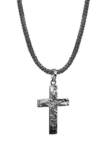 KUZZOI Herren Silber-Halskette mit Kreuz-Anhänger, 925er Sterling Silber oxidiert, Länge 50cm, Königskette Herrenkette mit Anhänger, massiv und handgearbeitet, ZOI-018
