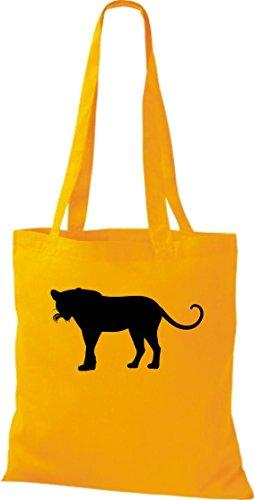 Stoffbeutel; Tiermotiv Raubkatze, Puma, Leopard,Tiger, Jaguar, Panther, Löwe; Farbe Gelb