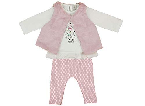 Kleines Kleid Baby Mädchen 3-Teiler Set mit Baby-Hose Langarm-Body Bluse und Faux-fur-Weste, in Grösse 62 68 74 80, Baumwoll mit Hunde Motiv in Rosa und Weiss, warm und süss Größe 62