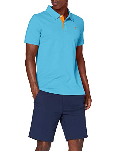 TOM TAILOR Herren Basic mit Kontrast Polohemd, 21946-north Blue, XXL