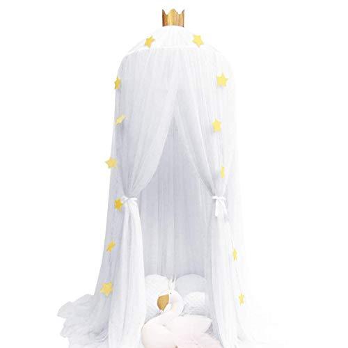 XZHU Mosquitera de Verano, Cortina de Cama para niños, Accesorios de Estrella de Carpa Plegable para bebé, decoración de Cama de Princesa,Blanco