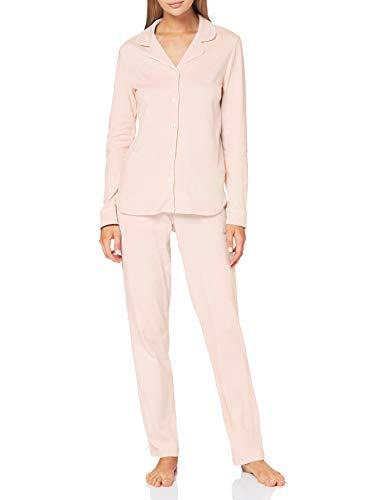 Seidensticker Damen Web lang Pyjamaset, rosa-Mel, 48