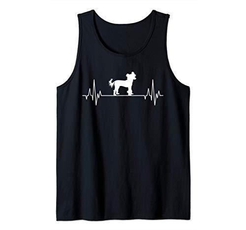Latido del Corazón Perro Crestado chino Chinese Crested Dog Camiseta sin Mangas