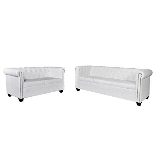 Festnight Chesterfield Sofaset Wohnzimmersofa Couch Loungesofa 2-Sitzer-Sofa und 3-Sitzer-Sofa Sitzkomfort Weiß