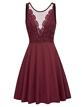 Women s Sexy See Through Front Slim Fit Skater Flared Swing Midi Dress S Wine Red