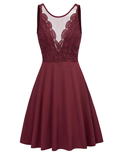 Women's Lace Patchwork High Waist Cocktail Party A-Line Midi Dress L Wine Red
