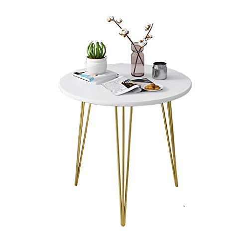 Mesa de centro de hierro nórdico, mesa de comedor para sala/dormitorio/balcón, escritorio, mesa de ordenador portátil, mesa redonda pequeña junto al sofá, mesa blanca (tamaño: 40 x 40 cm)