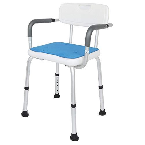 Silla de ducha para personas mayores, sillas de altura fácilmente ajustables con brazos y respaldo para bañera o ducha interior, montaje sin herramientas Silla elevadora de ducha para bañera