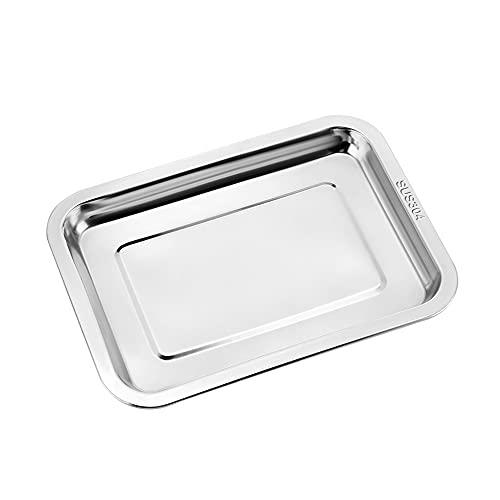 Vannico Backblech, 304 Edelstahl Ofenblech Kuchenblech, Gesund&Langlebig, Leicht zu Reinigen&Spülmaschinenfest, Rechteckige Backofen Tablett zum Backen und Kochen, 31,5 x 21,5 x 2 cm