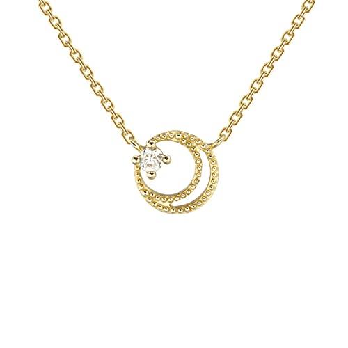 Collar con Colgante De Estrellas Dobles Y Media Luna, De Oro 9k Y Moissanita, para Mujeres/niñas