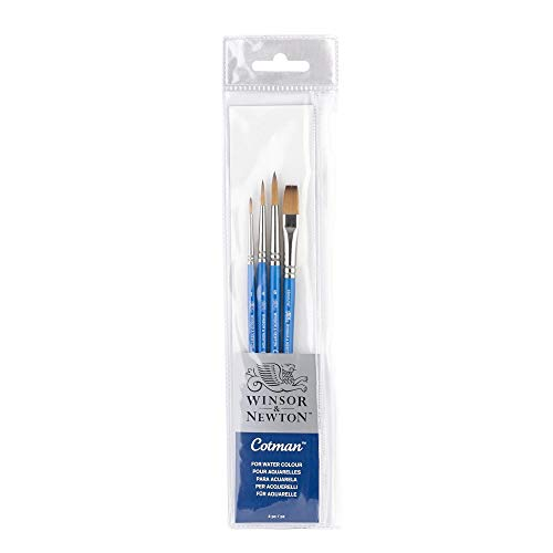 """Winsor & Newton Escova de cabo curto Cotman (pacote com 4) (redondo 1, 4, e 6, um traço 3/8"""")"""